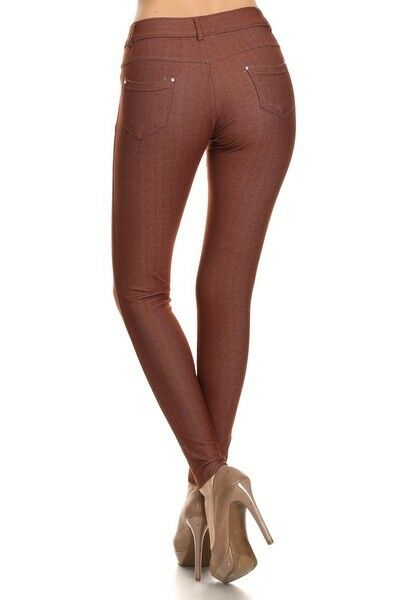 Women-039-s-Classic-Solid-Cotton-Blend-Jeggings-Soft-Skinny-Stretch-Pants thumbnail 11