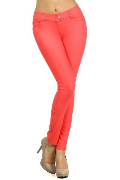 Women-039-s-Classic-Solid-Cotton-Blend-Jeggings-Soft-Skinny-Stretch-Pants thumbnail 13