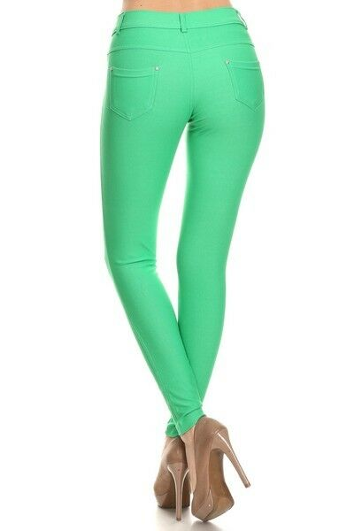 Women-039-s-Classic-Solid-Cotton-Blend-Jeggings-Soft-Skinny-Stretch-Pants thumbnail 21