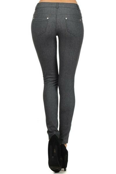 Women-039-s-Classic-Solid-Cotton-Blend-Jeggings-Soft-Skinny-Stretch-Pants thumbnail 19