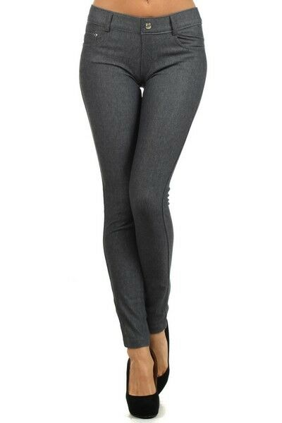 Women-039-s-Classic-Solid-Cotton-Blend-Jeggings-Soft-Skinny-Stretch-Pants thumbnail 18