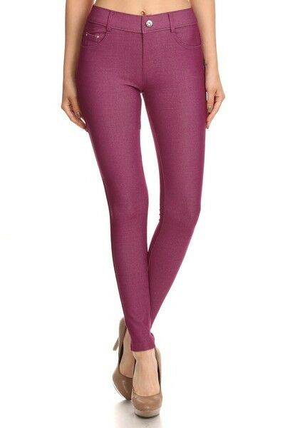 Women-039-s-Classic-Solid-Cotton-Blend-Jeggings-Soft-Skinny-Stretch-Pants thumbnail 29