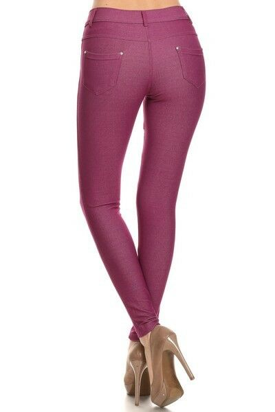Women-039-s-Classic-Solid-Cotton-Blend-Jeggings-Soft-Skinny-Stretch-Pants thumbnail 30
