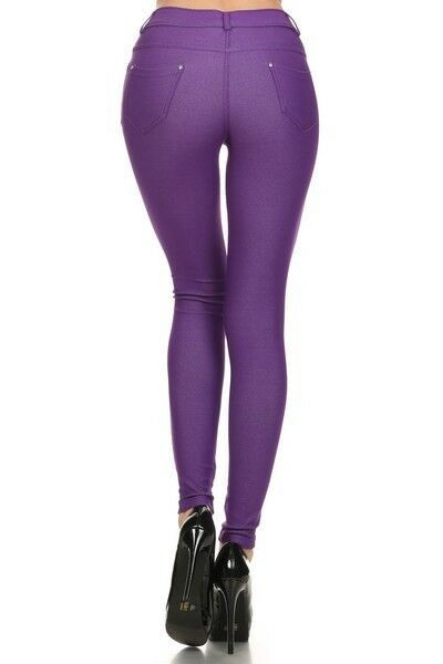 Women-039-s-Classic-Solid-Cotton-Blend-Jeggings-Soft-Skinny-Stretch-Pants thumbnail 33