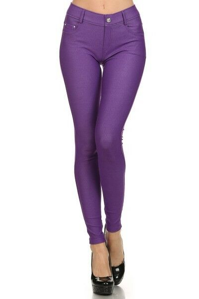 Women-039-s-Classic-Solid-Cotton-Blend-Jeggings-Soft-Skinny-Stretch-Pants thumbnail 32
