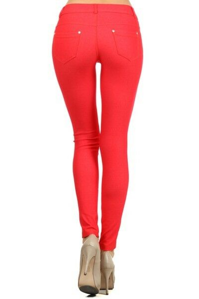 Women-039-s-Classic-Solid-Cotton-Blend-Jeggings-Soft-Skinny-Stretch-Pants thumbnail 36