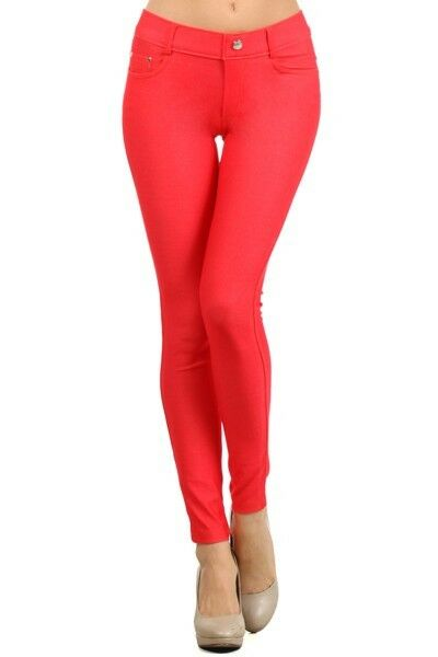 Women-039-s-Classic-Solid-Cotton-Blend-Jeggings-Soft-Skinny-Stretch-Pants thumbnail 35
