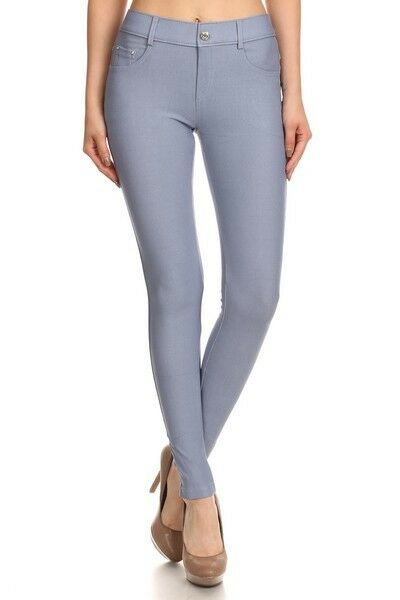 Women-039-s-Classic-Solid-Cotton-Blend-Jeggings-Soft-Skinny-Stretch-Pants thumbnail 38