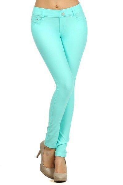 Women-039-s-Classic-Solid-Cotton-Blend-Jeggings-Soft-Skinny-Stretch-Pants thumbnail 41