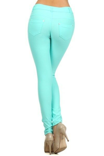 Women-039-s-Classic-Solid-Cotton-Blend-Jeggings-Soft-Skinny-Stretch-Pants thumbnail 42