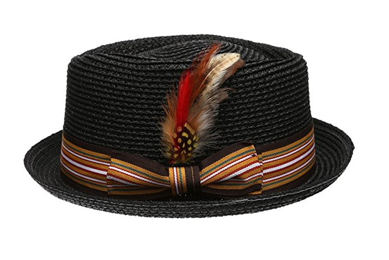 Fedora-Pork-Pie-Straw-Hat-w-Striped-Band-and-Removable-Feather-Summer-Cool-Hat thumbnail 3