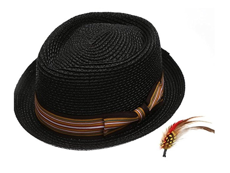 Fedora-Pork-Pie-Straw-Hat-w-Striped-Band-and-Removable-Feather-Summer-Cool-Hat thumbnail 4