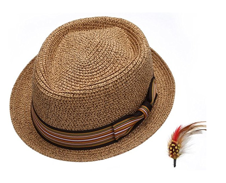 Fedora-Pork-Pie-Straw-Hat-w-Striped-Band-and-Removable-Feather-Summer-Cool-Hat thumbnail 8