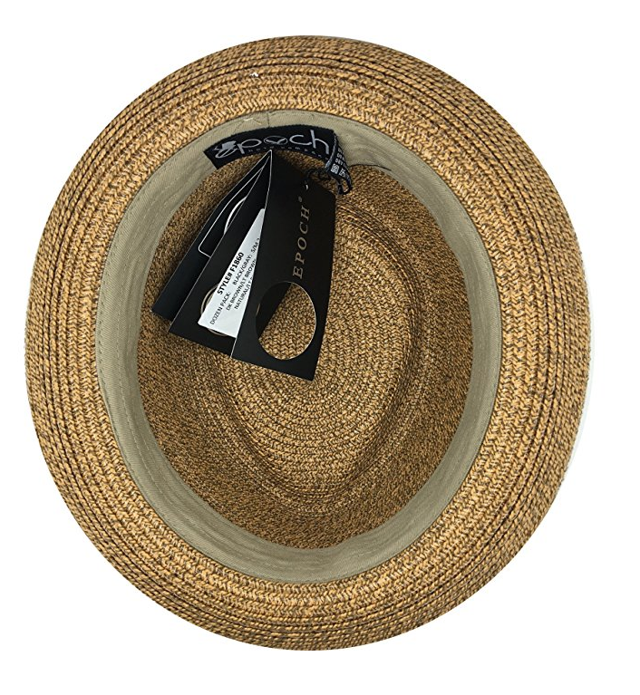 Fedora-Pork-Pie-Straw-Hat-w-Striped-Band-and-Removable-Feather-Summer-Cool-Hat thumbnail 9