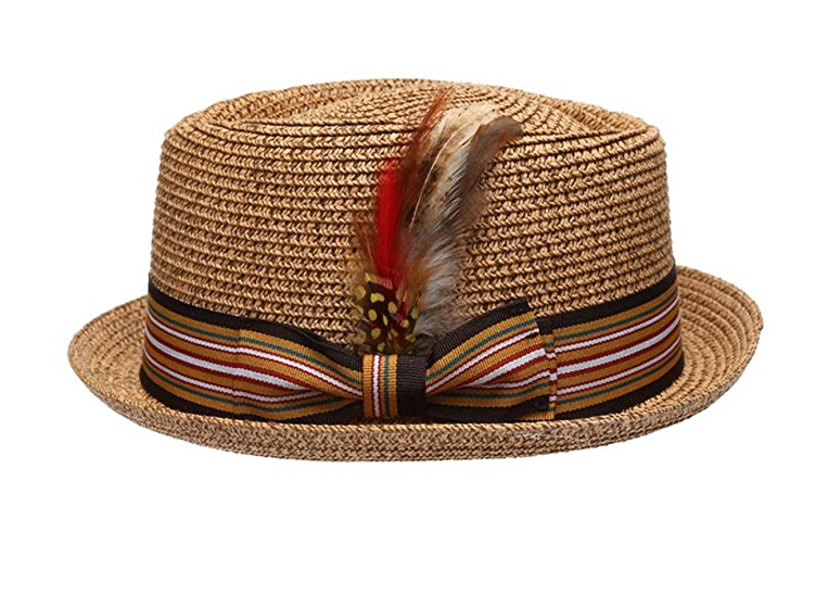 Fedora-Pork-Pie-Straw-Hat-w-Striped-Band-and-Removable-Feather-Summer-Cool-Hat thumbnail 7