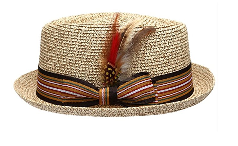 Fedora-Pork-Pie-Straw-Hat-w-Striped-Band-and-Removable-Feather-Summer-Cool-Hat thumbnail 11