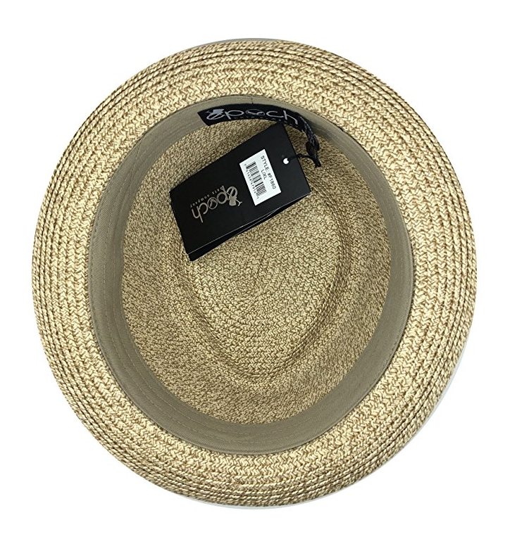Fedora-Pork-Pie-Straw-Hat-w-Striped-Band-and-Removable-Feather-Summer-Cool-Hat thumbnail 13
