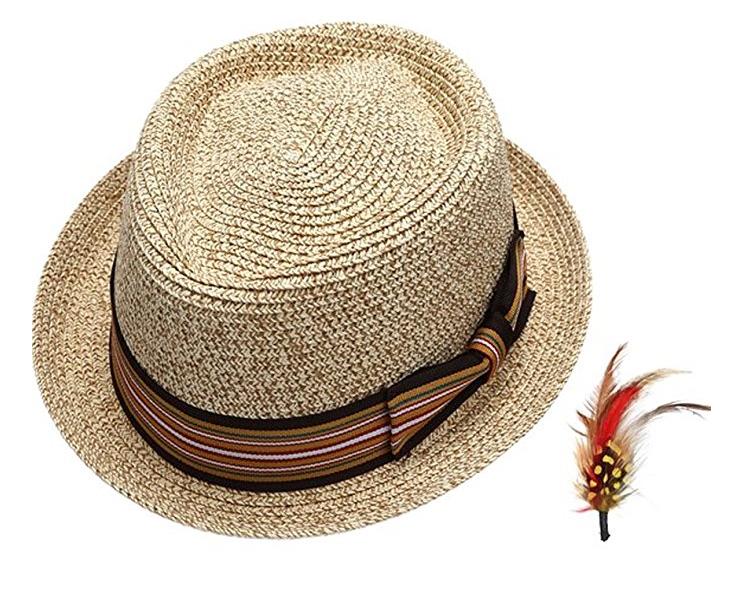 Fedora-Pork-Pie-Straw-Hat-w-Striped-Band-and-Removable-Feather-Summer-Cool-Hat thumbnail 12