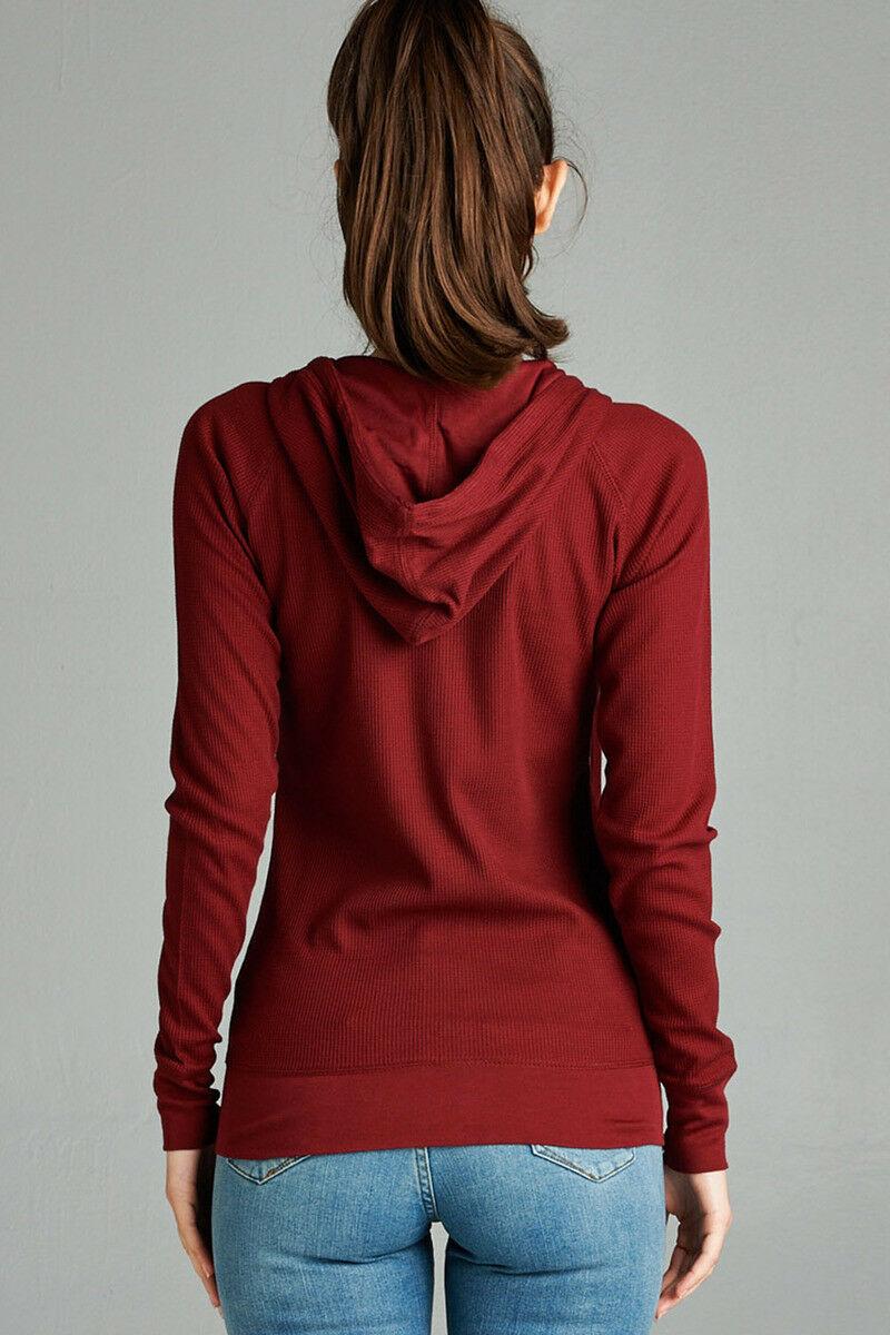 Women-Basic-Hoodie-Jacket-Waffle-Knit-Lightweight-Zip-Up-w-Pockets-Drawstrings thumbnail 4