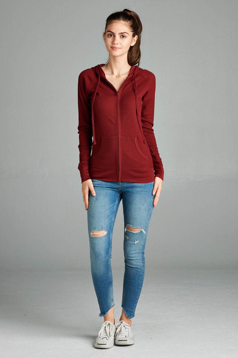 Women-Basic-Hoodie-Jacket-Waffle-Knit-Lightweight-Zip-Up-w-Pockets-Drawstrings thumbnail 5