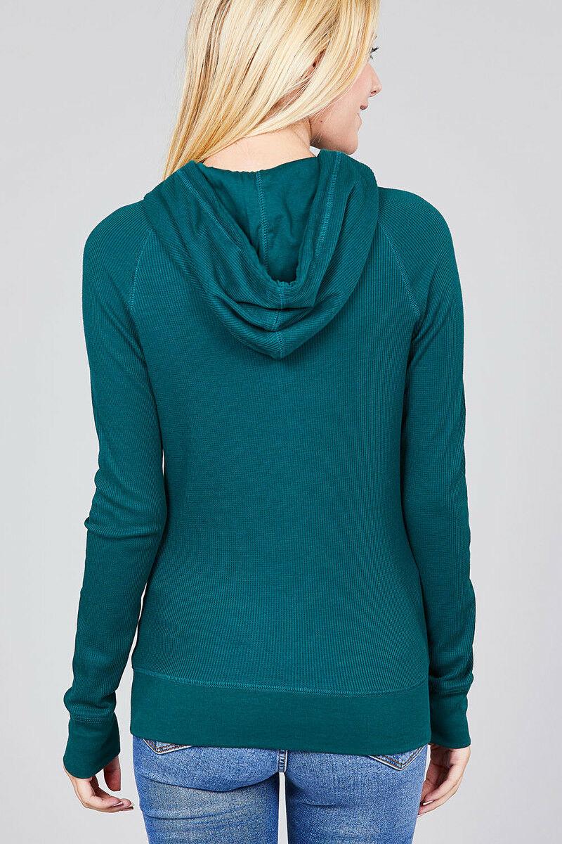 Women-Basic-Hoodie-Jacket-Waffle-Knit-Lightweight-Zip-Up-w-Pockets-Drawstrings thumbnail 8