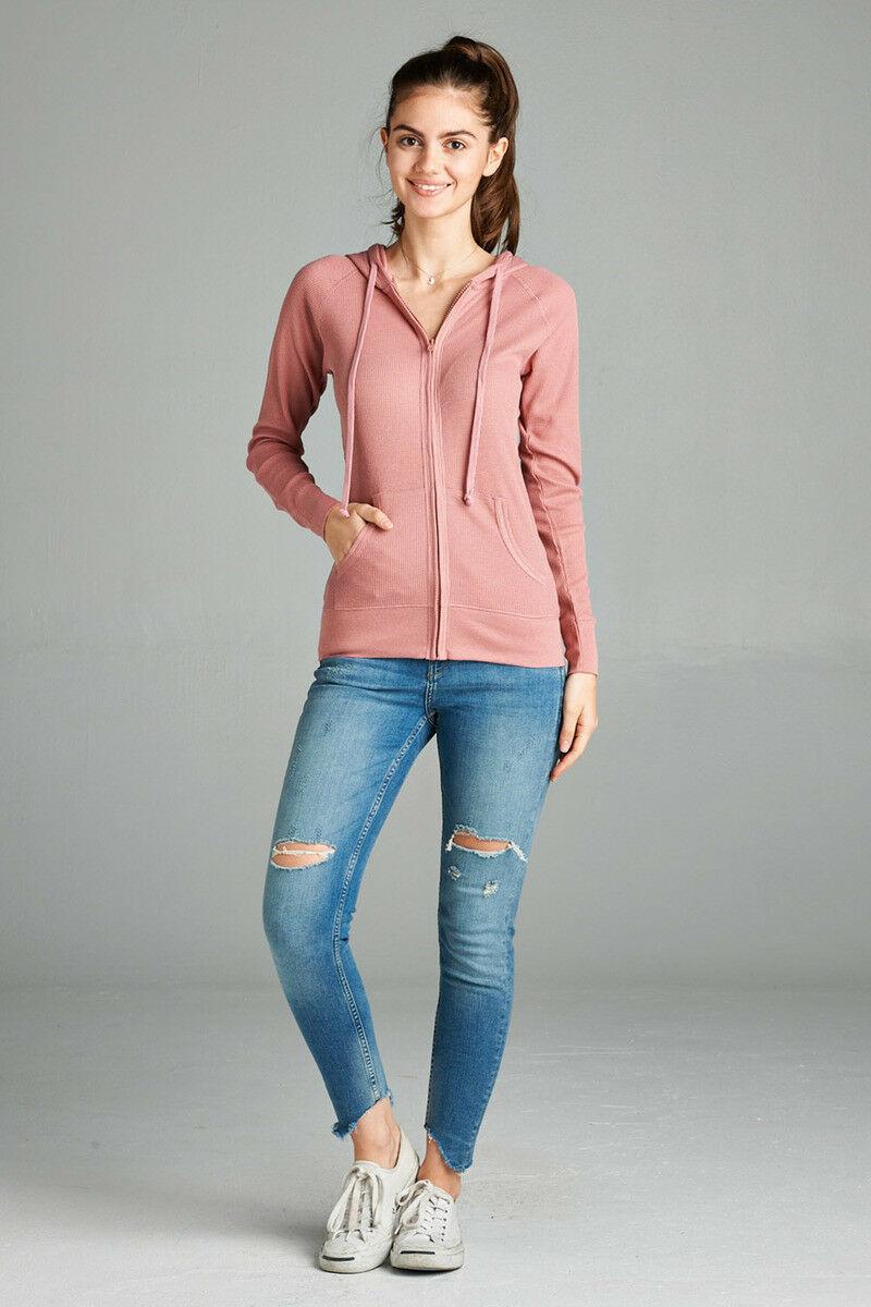 Women-Basic-Hoodie-Jacket-Waffle-Knit-Lightweight-Zip-Up-w-Pockets-Drawstrings thumbnail 12