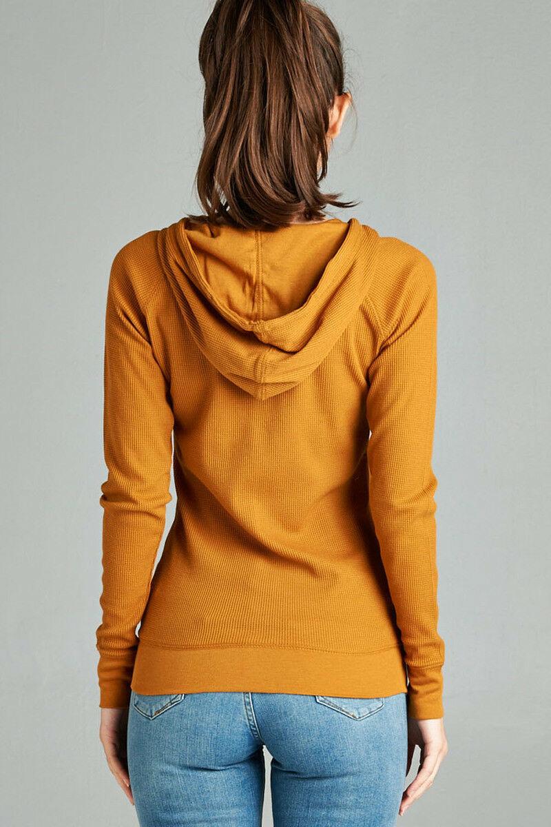 Women-Basic-Hoodie-Jacket-Waffle-Knit-Lightweight-Zip-Up-w-Pockets-Drawstrings thumbnail 17