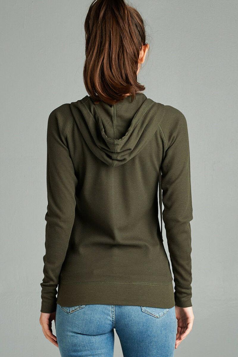 Women-Basic-Hoodie-Jacket-Waffle-Knit-Lightweight-Zip-Up-w-Pockets-Drawstrings thumbnail 20