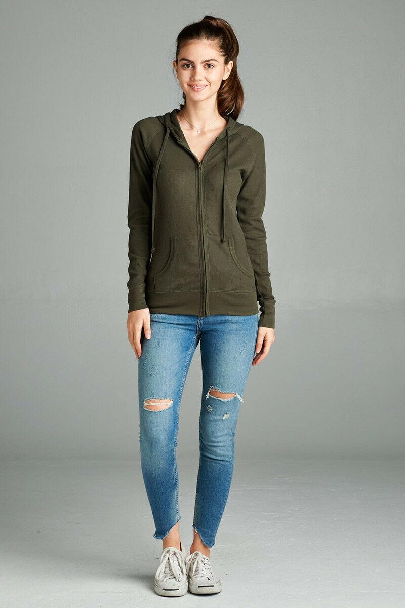 Women-Basic-Hoodie-Jacket-Waffle-Knit-Lightweight-Zip-Up-w-Pockets-Drawstrings thumbnail 21