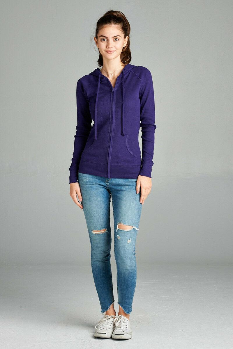 Women-Basic-Hoodie-Jacket-Waffle-Knit-Lightweight-Zip-Up-w-Pockets-Drawstrings thumbnail 23