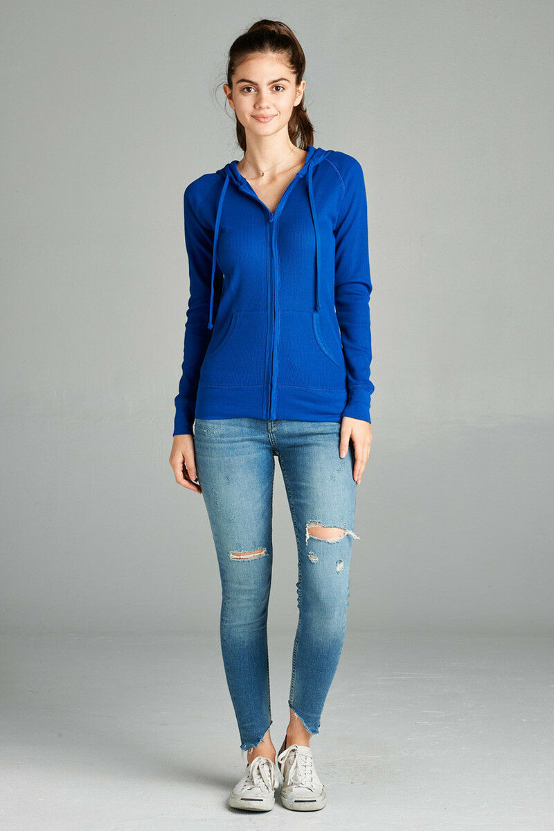 Women-Basic-Hoodie-Jacket-Waffle-Knit-Lightweight-Zip-Up-w-Pockets-Drawstrings thumbnail 29