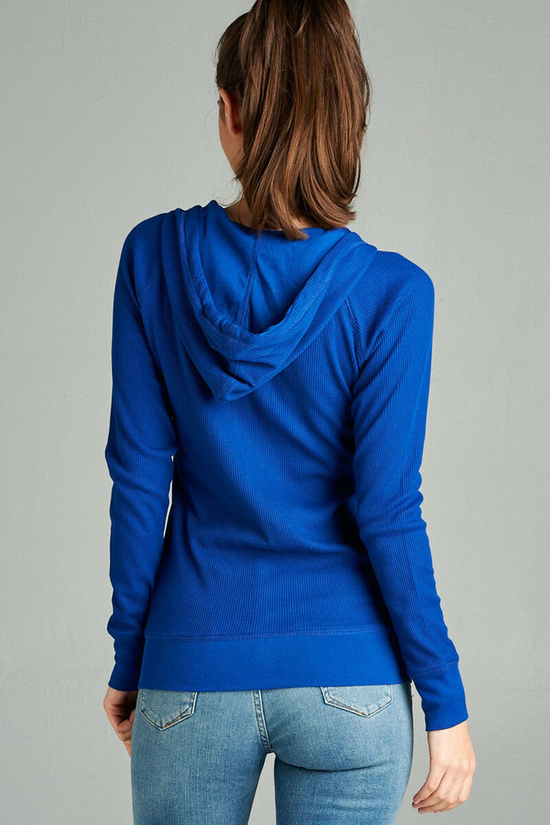 Women-Basic-Hoodie-Jacket-Waffle-Knit-Lightweight-Zip-Up-w-Pockets-Drawstrings thumbnail 28