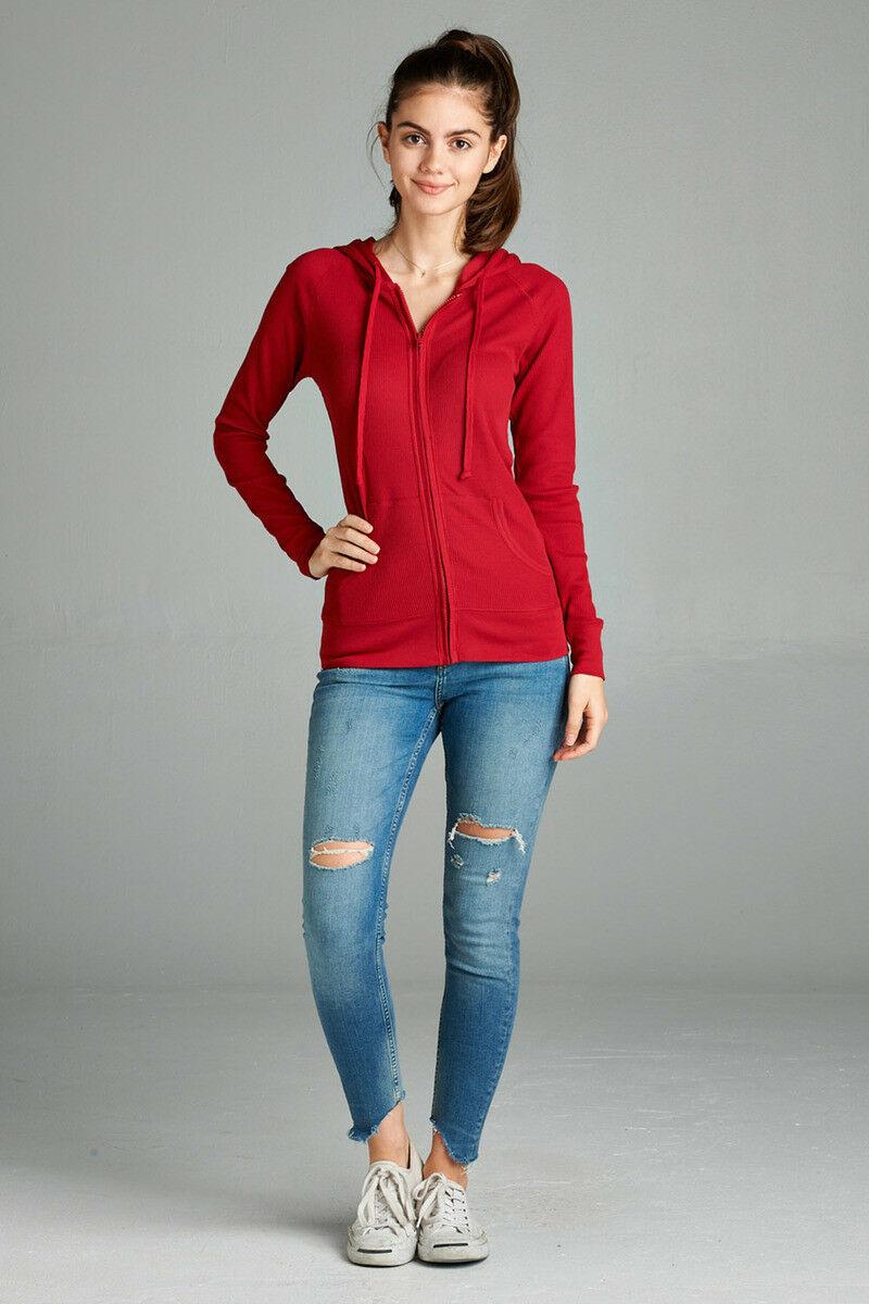 Women-Basic-Hoodie-Jacket-Waffle-Knit-Lightweight-Zip-Up-w-Pockets-Drawstrings thumbnail 26