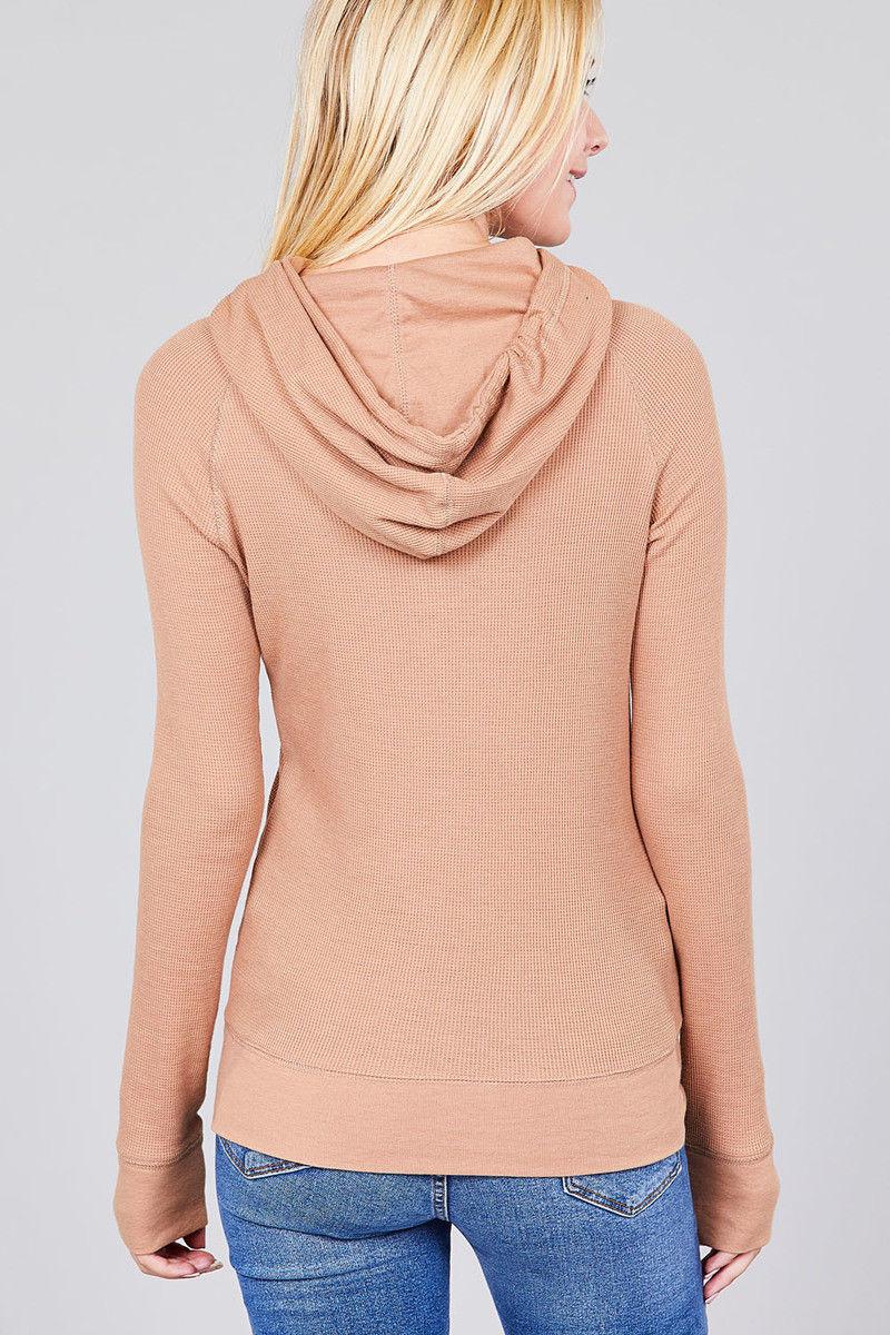 Women-Basic-Hoodie-Jacket-Waffle-Knit-Lightweight-Zip-Up-w-Pockets-Drawstrings thumbnail 15