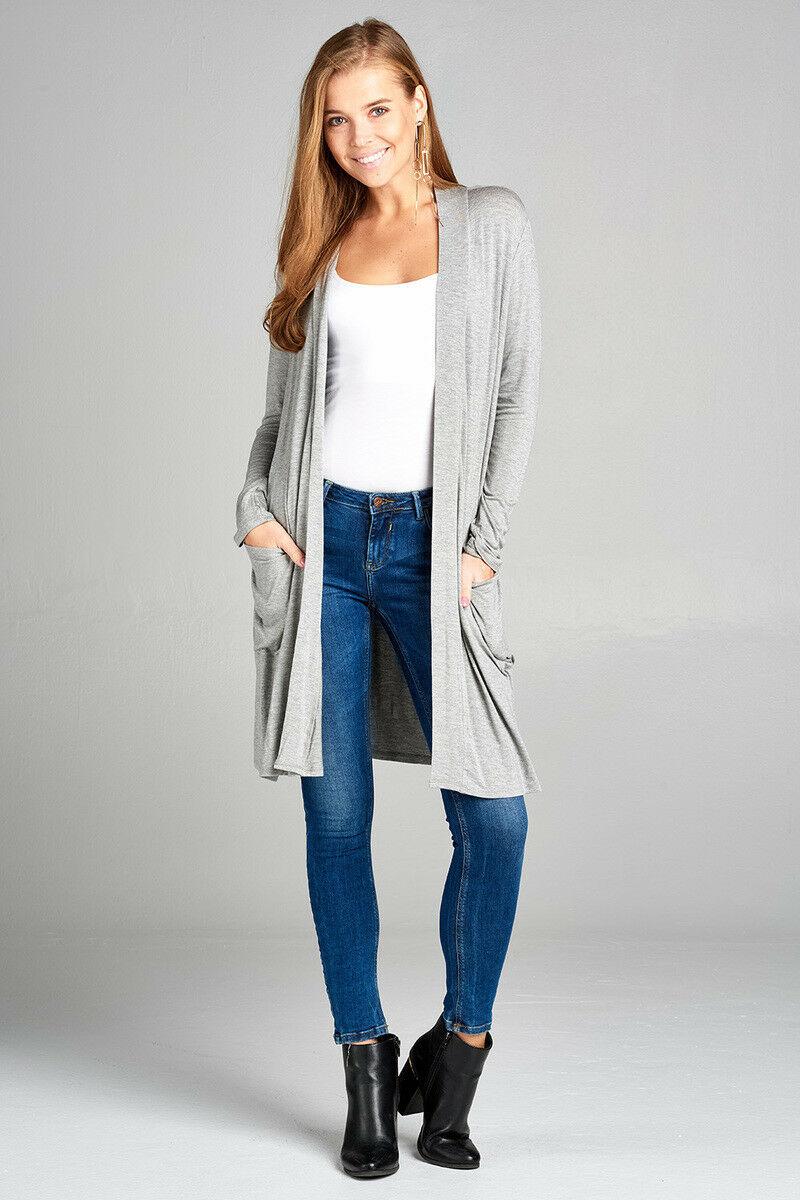 Women/'s Cardigan Long Sleeve Open Front Lightweight Draped Long Length w Pockets