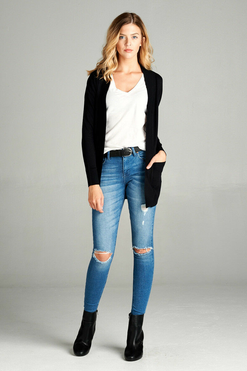 Women-039-s-Cardigan-Long-Sleeve-Open-Front-Draped-Sweater-Rib-Banded-w-Pockets thumbnail 11
