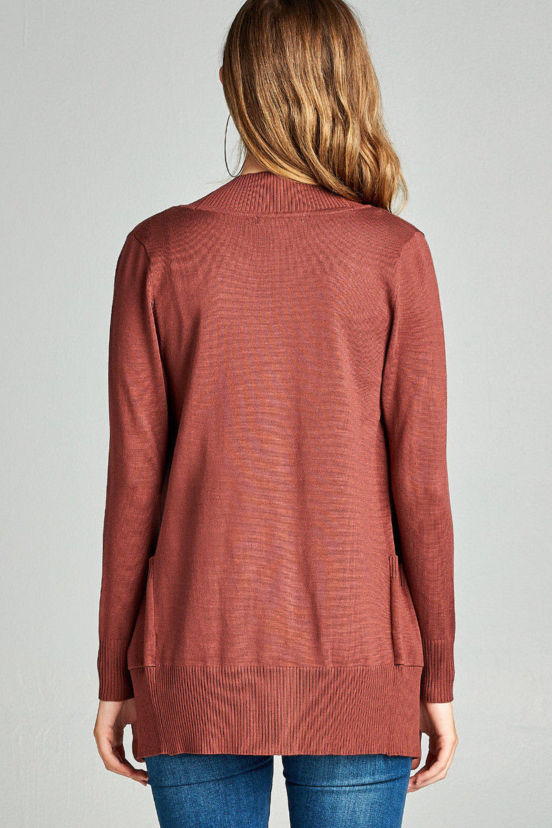 Women-039-s-Cardigan-Long-Sleeve-Open-Front-Draped-Sweater-Rib-Banded-w-Pockets thumbnail 29