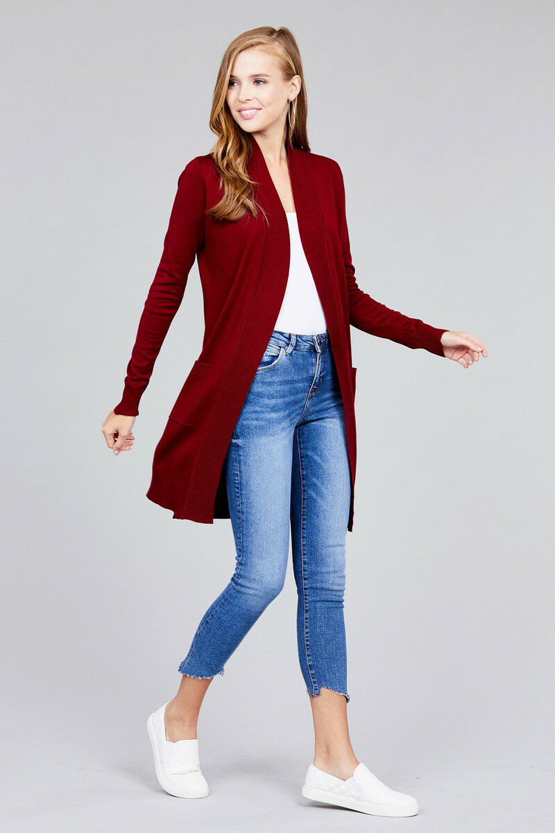 Women-Cardigan-Open-Front-Draped-Sweater-Long-Length-Rib-Banded-w-Pockets thumbnail 8