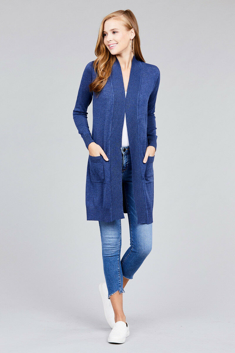 Women-Cardigan-Open-Front-Draped-Sweater-Long-Length-Rib-Banded-w-Pockets thumbnail 18