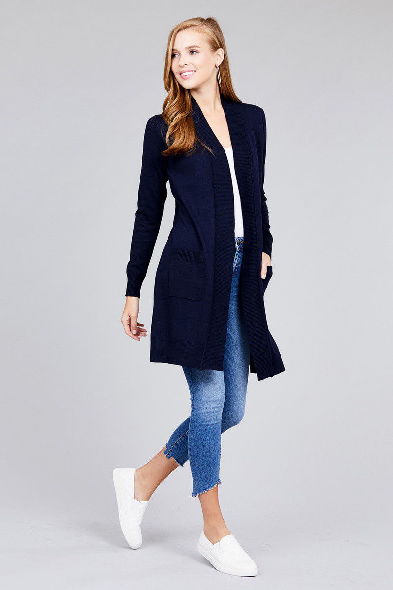 Women-Cardigan-Open-Front-Draped-Sweater-Long-Length-Rib-Banded-w-Pockets thumbnail 5