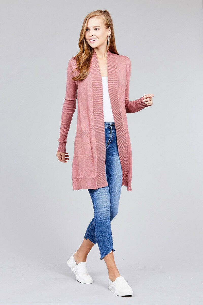 Women-Cardigan-Open-Front-Draped-Sweater-Long-Length-Rib-Banded-w-Pockets thumbnail 25