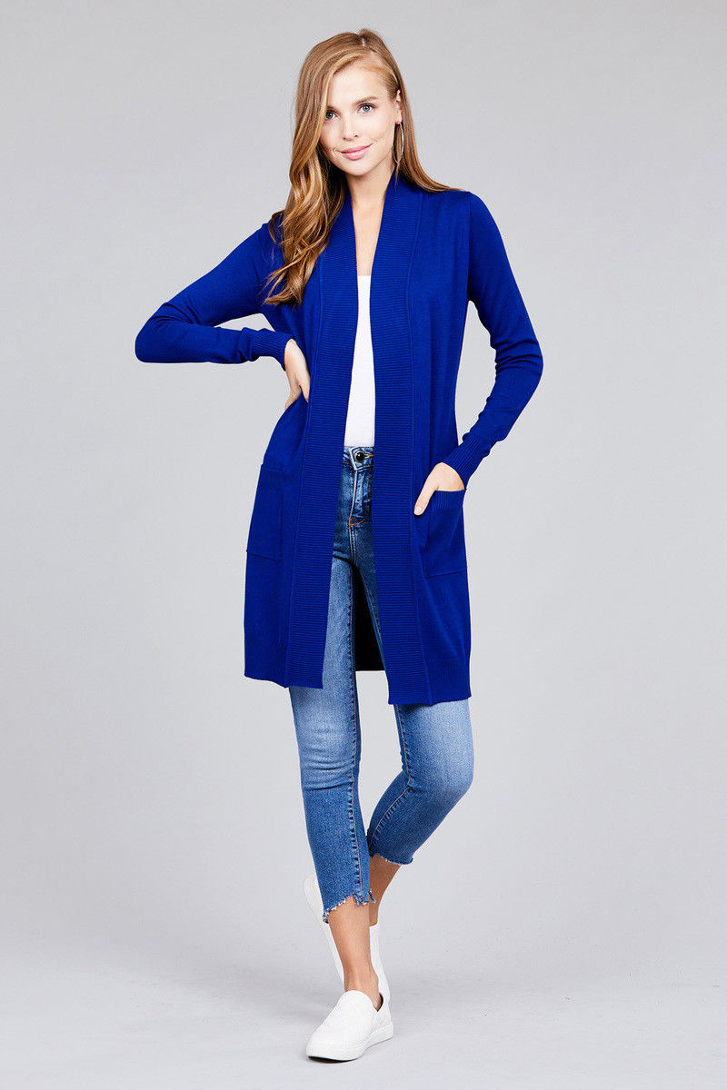 Women-Cardigan-Open-Front-Draped-Sweater-Long-Length-Rib-Banded-w-Pockets thumbnail 32