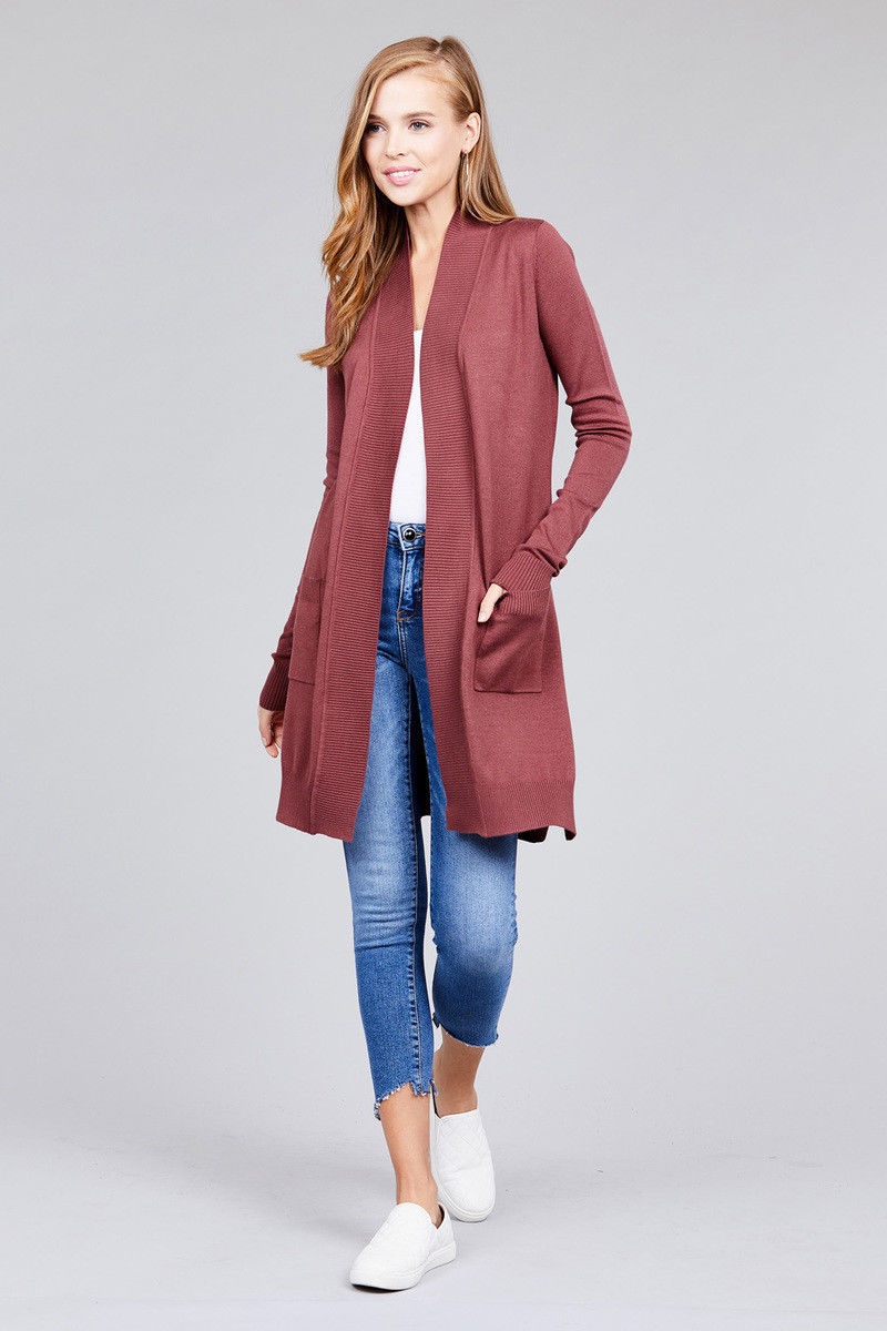Women-Cardigan-Open-Front-Draped-Sweater-Long-Length-Rib-Banded-w-Pockets thumbnail 29