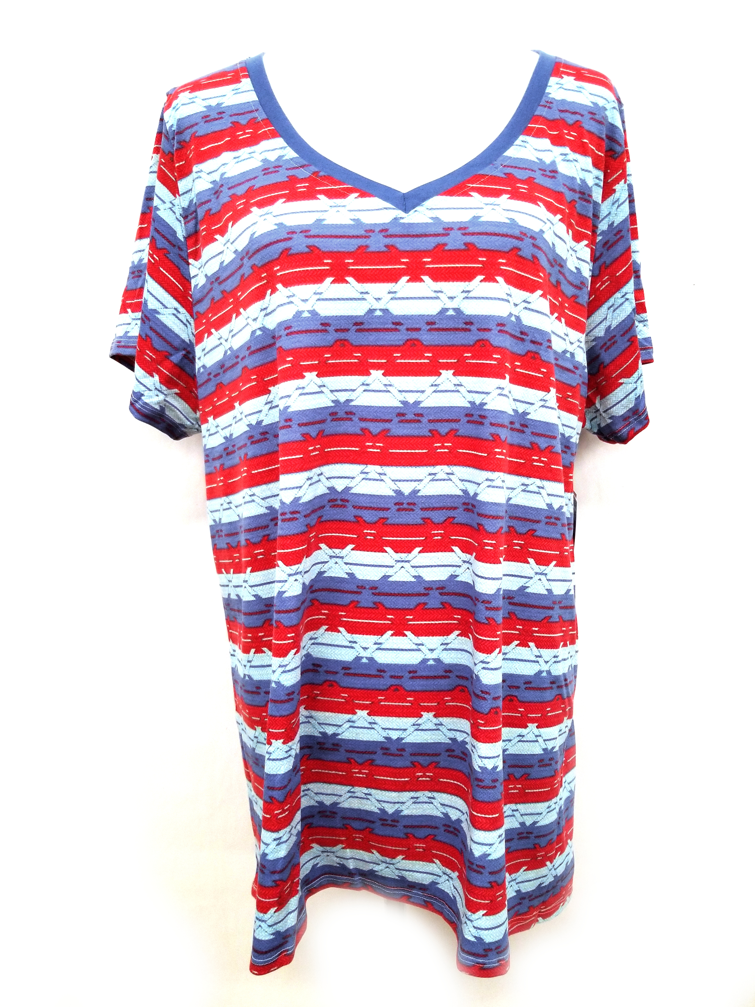 New LuLaRoe Christy T Shirt Americana 3XL white blue red leopard print
