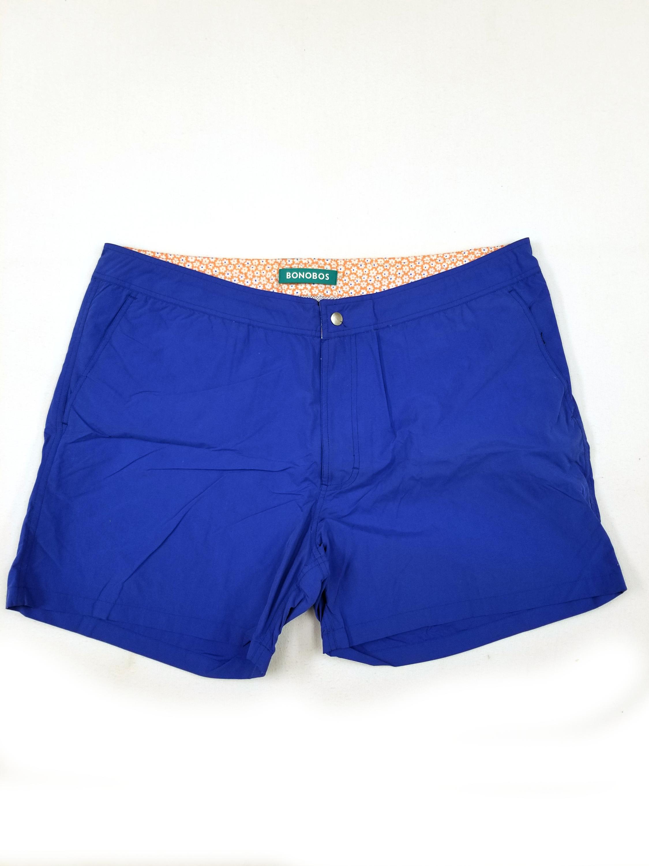 New Mens Bonobos Swim Trunks Swimsuit size 32 7-inch inseam navy blue orange