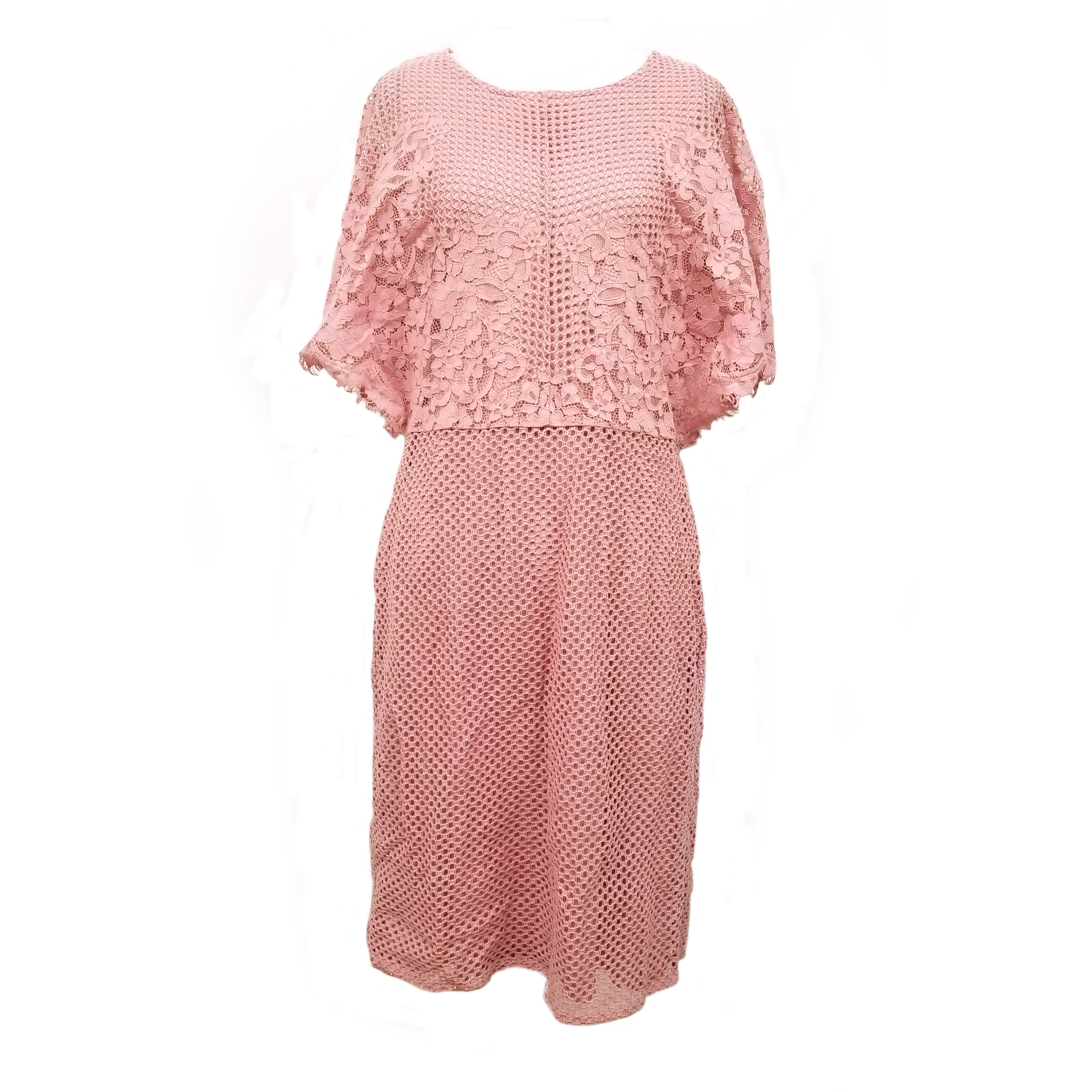 Details About New Womens Dkny Flutter Sleeve Sheath Dress Size 12 Mauve Pink Lace