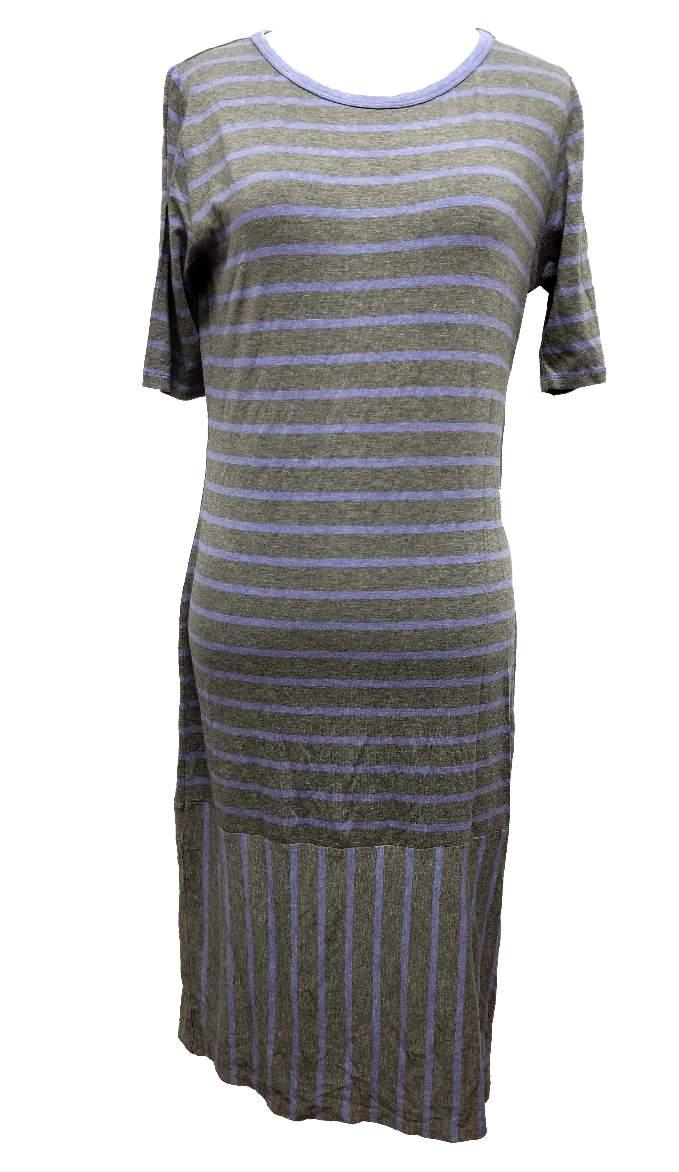 New LulaRoe Julia Dress Medium grey gray blue heathered solid color beautiful