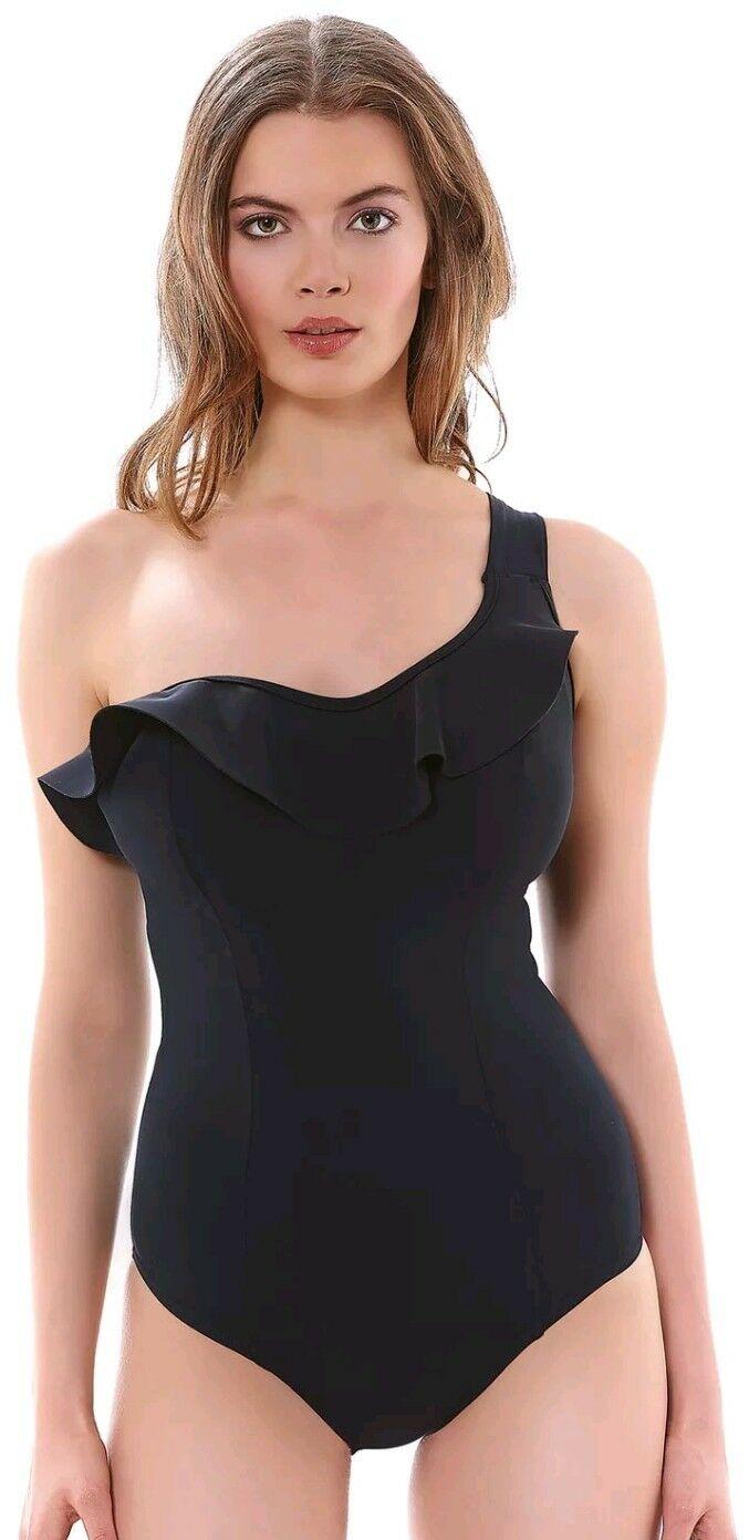 0feba19b6f1cd Freya Womens Swim Remix Underwired Sculp Frilled Swimsuit US 32DD black