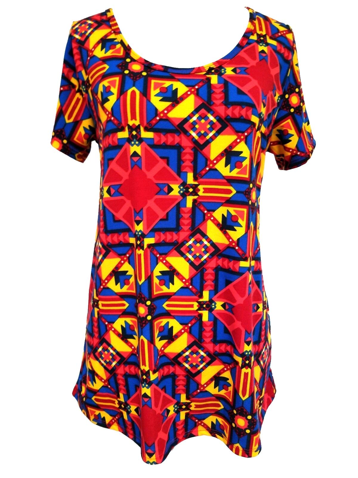 New LuLaRoe Classic tshirt Medium navy blue red yellow pink orange teal Aztec