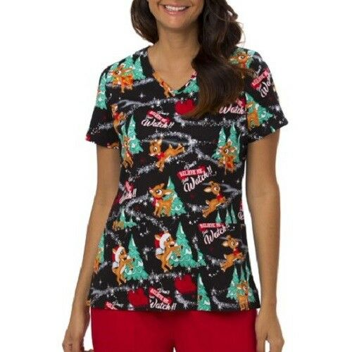 Rudolph The Red Nosed Reindeer Christmas Scrubs Ladies//Womens NEW free usa ship